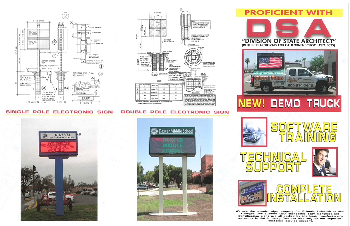 Collage of pictures containing blueprints and sign portfolio examples