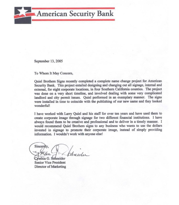 Testimonial from American Security Bank