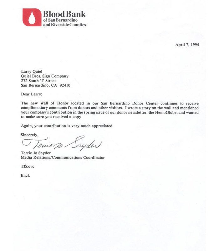 Testimonial from the Blood Bank of San Bernardino and Riverside Counties
