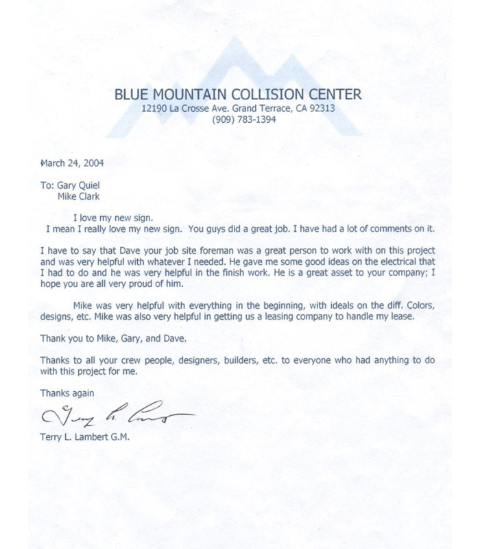Testimonial from Blue Mountain Collision Center