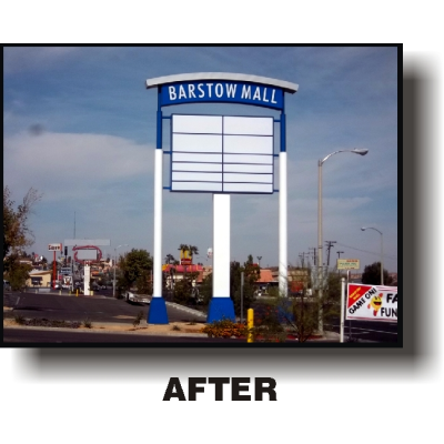 large custom blue and white retail sign for Barstow Mall