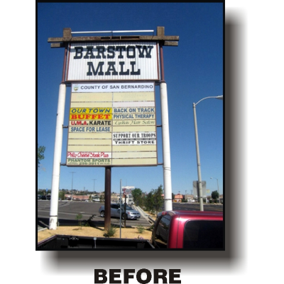 old outdated retail sign for barstow mall