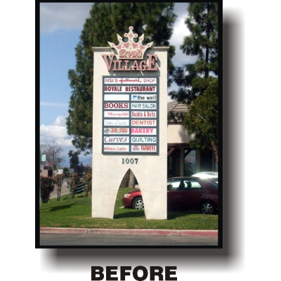 before picture of Crown village delapadated retail sign