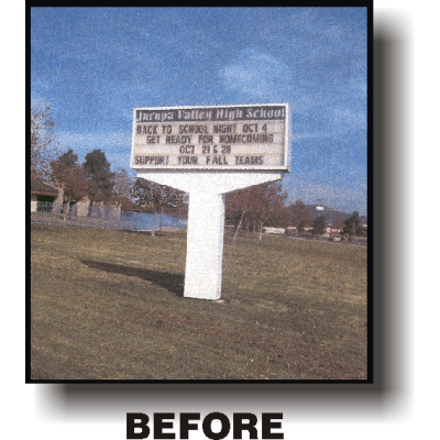 old marquee school sign
