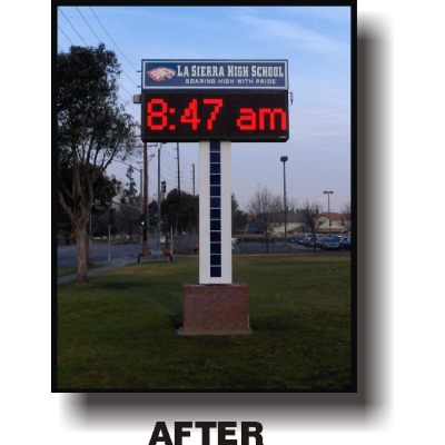 after picture of new high school sign with LED marguee