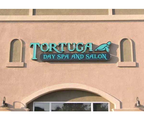 custom backlit channel letters and logo on side of building
