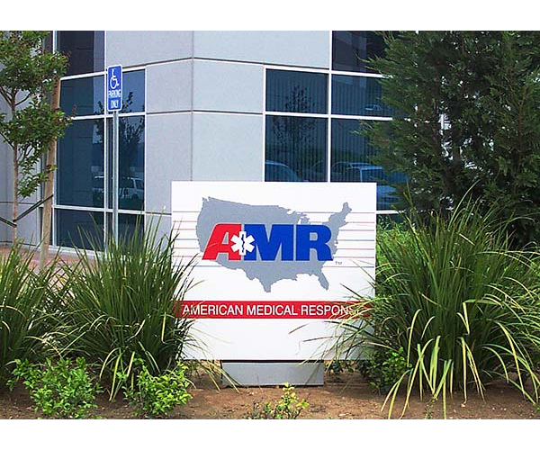AMR custom monument sign in front of building