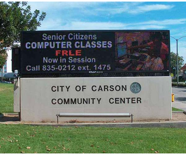 LED mounment sign for City of Carson Community Center