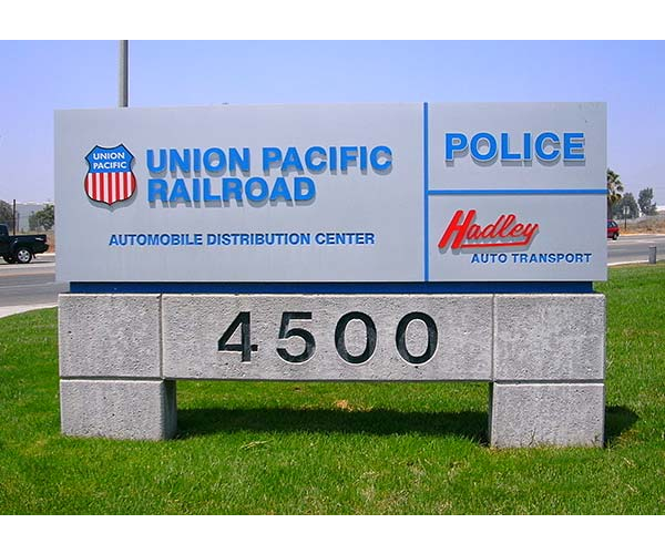 Modern Monument sign with address for Union Pacific Railroad