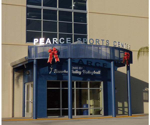 Pearce Sports Center custom sign above entrance