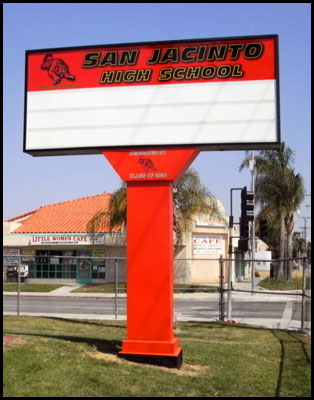Red school marquee sign
