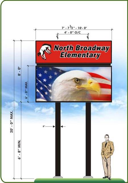 custom LED marquee for school with bald eagle graphic displayed