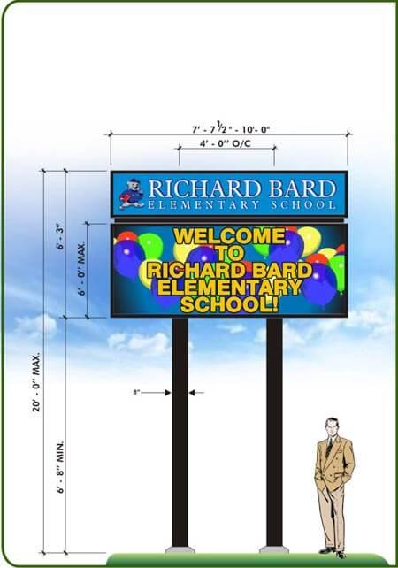 custom LED school marquee sign drawings