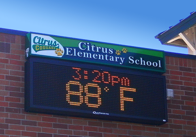 electronic sign for elementary school
